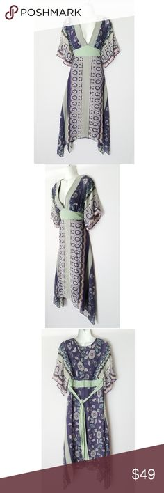 BCBG Paris Silk Whimsical Print Kimono Maxi Dress Beautiful Kimono style silk dress by BCBG Paris. Size 10. 100% silk. Features plunging neckline and kimono style sleeves and bodice. Also, 19 inch back zipper and built in tie belt for added waist cinching.   Bust 19 inches across  Waist 16 inches across  Hips 21 inches across  54 inches at longest points BCBG Dresses Maxi