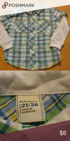 Old navy shirt Old Navy size 2t. Excellent condition. One free home. Really cute shirt. Old Navy Shirts & Tops Button Down Shirts