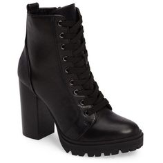 Women's Steve Madden Laurie Platform Bootie (£100) ❤ liked on Polyvore featuring shoes, boots, ankle booties, heels, black leather, lace up heel booties, leather ankle boots, black heeled booties, stacked heel bootie and black leather boots