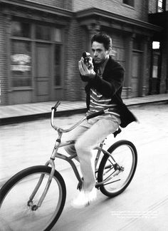 Only Robert Downey Jr. could look that bad-A on a bicycle.