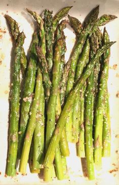 Family-friendly asparagus recipes can start simple, like this Roasted Asparagus with just a touch of parmesan and lemon. | Mommy of a Monster
