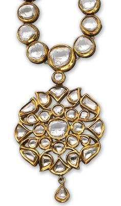 *A diamond and enamel necklace of Moghul style, centering a floral panel with table-cut diamonds necklace and enamel reverse; mounted in twenty-two karat gold; Mughal Jewelry, Indian Jewelry, Antique Jewelry, Vintage Jewelry, Ancient Jewelry, Traditional Indian Jewellery, Jeweled Shoes, Jewellery Sketches, Pendant Set