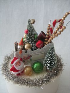 CHRISTMAS DECORATION Santa in Sleigh Vintage Winter Christmas Vignette BOX Decoration Assemblage by rosemarysgarden on Etsy