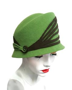 Grass Green cloche style hat with high shaped crown narrow