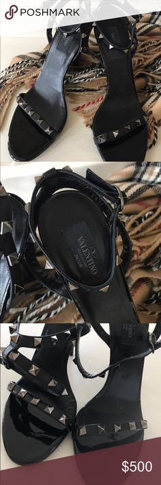 Valentino Garavani Noir Rockstud sandals ✨✨SALE today only! ✨✨Valentino Garavani Noir Black Rockstud sandals/heels. Size 38.5/8.5. Brand new without box. These retail for 995$. These have a 4 inch heel with a 100mm pitch. Adjustable ankle strap with buckle closure. Ruthenium finish studs. Patent leather. Leather upper, lining and sole. By Valentino, made in Italy. Brand new :) Valentino Garavani Shoes Heels