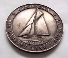Vintage 1937 King George VI Sterling Silver Medal - Torbay Regatta - Brittannia