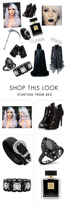 """Grim reaper"" by ruza-steampunk ❤ liked on Polyvore featuring Epoque, River Island, De Beers and Avon"