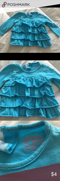 Carters - infant girl shirt Size 9 months infant girl long sleeve shirt with Ruffles in the front! Super cute on. Excellent condition!! Carter's Shirts & Tops Tees - Long Sleeve