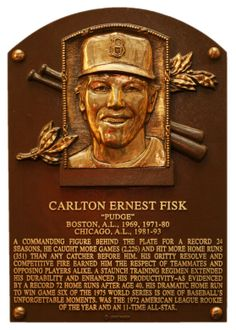 Carlton Fisk's Hall of Fame plaque.
