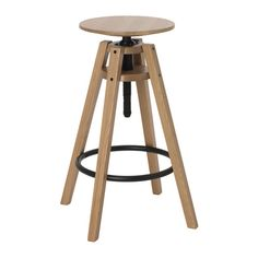 IKEA BENGTERIK Bar stool Oak 63-74 cm Easy to adjust in heights with only one hand.