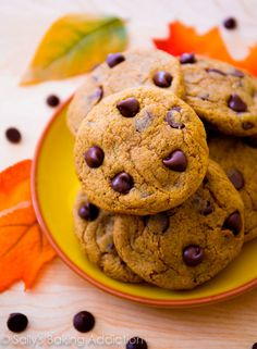 Pumpkin Chocolate Chip Cookies ~ Perfectly soft & chewy without being cakey. sallysbakingaddiction.com