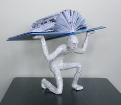 Book Atlas with Blue Book (Original Sculpture)