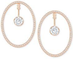 Swarovski Rose Gold-Tone Crystal & Pave Convertible Drop Hoop Earrings