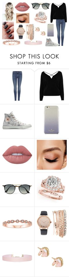 """""""~Physics Will Be The Death Of Me~"""" by kap-kap99 ❤ liked on Polyvore featuring 7 For All Mankind, River Island, Converse, Kate Spade, Lime Crime, Avon, Ray-Ban, Jessica Carlyle and Humble Chic"""