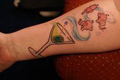martini tattoos | pink elephants martini tattoo A Sobering Look At Booze #Tattoos