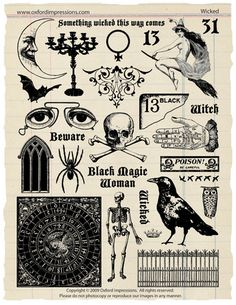 Wicked Rubber Stamp Collection - Halloween. $24.00, via Etsy.  A collection of 26 images with a dark, gothic theme. Perfect for Halloween art, but versatile enough for any mystical theme. Stamps are traditional red rubber and are sold rubber only - no cushion or mounting. Intended for use with temporary mounting systems such as cling foam and acrylic blocks.    Entire sheet of rubber is 8.5 x 10.5.