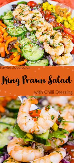 Looking for cooked king prawn recipe ideas? Try out this king prawn salad with chilli dressing for a delicious light summer salad. An easy prawn recipe with a fantastic sweet and spicy, honey and chilli salad dressing with coriander. Finished off with an optional sprinkle of coconut and coriander leaves (cilantro). Fantastic no cook summer recipe King Prawn Recipes, Easy Prawn Recipes, Best Seafood Recipes, Healthiest Seafood, Best Salad Recipes, Shellfish Recipes, Salad Dressing Recipes, Lunch Recipes, Healthy Recipes