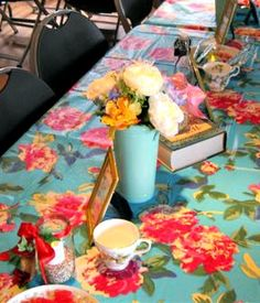 Sweet 16 Vintage Alice in Wonderland Tea Party Birthday Party--The tables are all set (close-up of table decor)