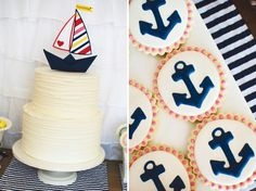 sweet and preppy nautical birthday party. love the pop of yellow and red with the pink and navy!