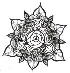 ➳➳➳☮American Hippie Art - Zentangle Coloring Page .. Sacred geometry Mandala lotus flower .. tattoo idea