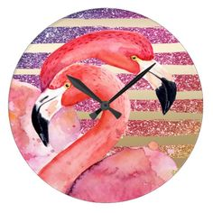 Watercolor Flamingos Glitter Gold Stripes Large Clock