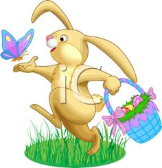 Royalty Free Clipart Image of the Easter Bunny Carrying a Basket of Eggs, While Chasing a Butterfly