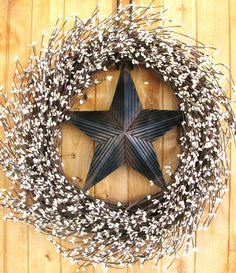 Rustic BARN STAR Wreath-LARGE Wreath-Creamy Vanilla Berry Wreath-Texas Star-Western Decor-Scented Cinnamon Vanilla-Choose your Scent. $79.00, via Etsy.