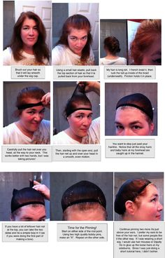A picture tutorial on how to wear a mesh wig cap. I like the pointers she gives on placement, pinning it, and taking care of short flyaways.