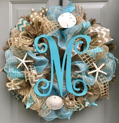 Beach Burlap Deco Mesh Wreath with Monogram, Seashell Wreath, Beach Wreath, Starfish Wreath