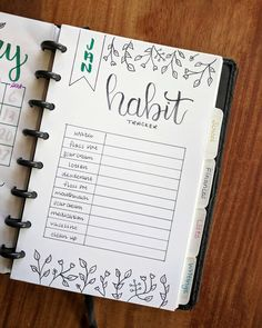 Bullet journal monthly habit tracker, plant drawings. | @afineplanner