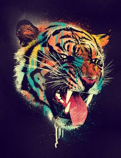 Pin It Pin It Pin It Savagely fierce tiger design. Ferocious Tiger is a Tee that means business. Enjoy the vivid colors and the fantasy behind this Design while walking down the street and jamming out… Continue Reading → Tiger Rug, Tiger Print, Tiger Blanket, Wow Art, Canvas Prints, Art Prints, Animal Prints, Big Canvas, Amazing Art