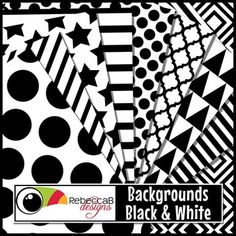 Backgrounds Black and White contains 10 black and white patterned, letter size backgrounds. Import into your editing program, eg. PowerPoint, to place borders, frames and text over the top to create fun product covers, worksheets, activities, posters or print on colored card for a different combination.