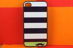 iPhone 4 case iPhone 4s case iPhone 4 cover iPhone 4s skin iPhone 4s cover iPhone 4s skin navy strip mustache. $6.99, via Etsy.
