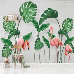 Modern Turtle Leaf Flamingo Scenery Wallpaper - 160W x 100H inches / Peel & Stick Paper