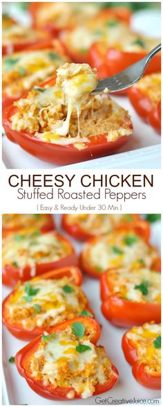 Cheesy Chicken stuffed roasted peppers - easy dinner ready in under 30 minutes