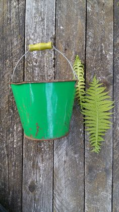green small bucket rusty metal tin vintage by vintagefullhouse