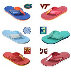 Rainbow flip flops in 2 SEC team colors (Florida & TAMU). Hey Gators fans, these would go fabulously with your jorts! Sorry, couldn't resist ;)