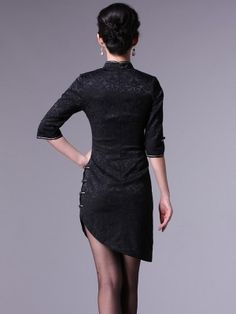 Black 3/4 Sleeve Chinese Qipao / Cheongsam Dress