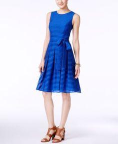 TOMMY HILFIGER Tommy Hilfiger Illusion-Striped Fit &Amp; Flare Dress. #tommyhilfiger #cloth # dresses