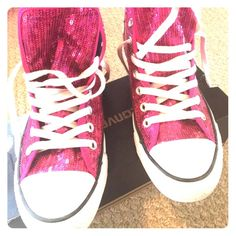 Pink Sequined Converse All-Star Pink sequins adorn these fabulous converse all stars. Very gently used. See picture of heel and soles. Comes with original box. Converse Shoes Sneakers