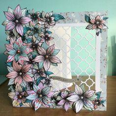 Honey doo crafts flower stamp with Sara Davies trellis die
