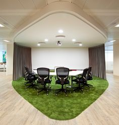 A mini-movie theatre in the office! The client-facing side of this office design… Workspace Design, Office Interior Design, Office Designs, Wood Interiors, Office Interiors, May House, Grass Carpet, Office Pods, Loft Office