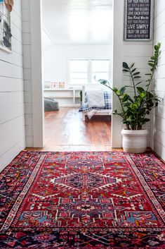 Shop our Gharajeh Persian Collection to add a unique and timeless style in your hallway! Living Room Carpet, Living Room Modern, Rugs In Living Room, Living Room Decor, Living Room Oriental Rug, Home Design, Design Design, Pattern Design, Modern Design