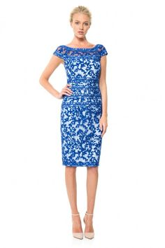 Embroidered Banded Lace Cap Sleeve Sheath Dress | Tadashi Shoji