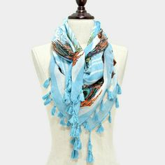 Beautiful?Peacock  scarf with tassels Peacock feather print scarf with tassels. Accessories Scarves & Wraps