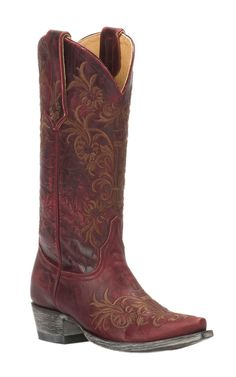 Cavender's by Old Gringo Women's Vintage Red Goat with Brown Floral Embroidery Snip Toe Western Boots   Cavender's