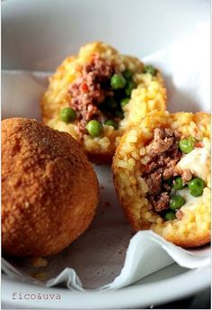 Sicilian Arancini - Rice Balls filled with Meat Sauce Cheese and Peas then…