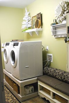 Never thought of raising my washer and Dryer so I don't have to lean over. Great Ideal :)