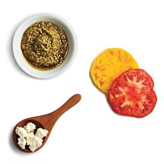 Zesty Pesto and Tomato sounds like a great combo for our kale veggie burger mix! - 7 Healthy Burger Toppings - Cooking Light