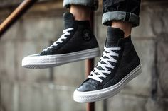 5c48fc5e203b1 Converse Chuck Taylor All-Star x Nike Flyknit Black Colorway On Foot Nike  Flyknit Black